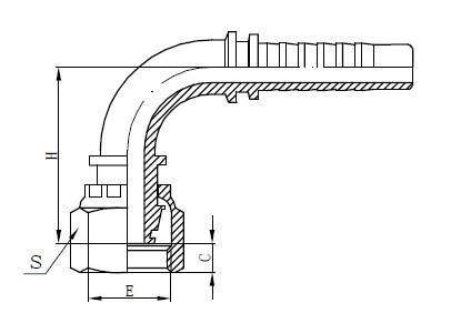 One Piece Hose Fitting Drawing